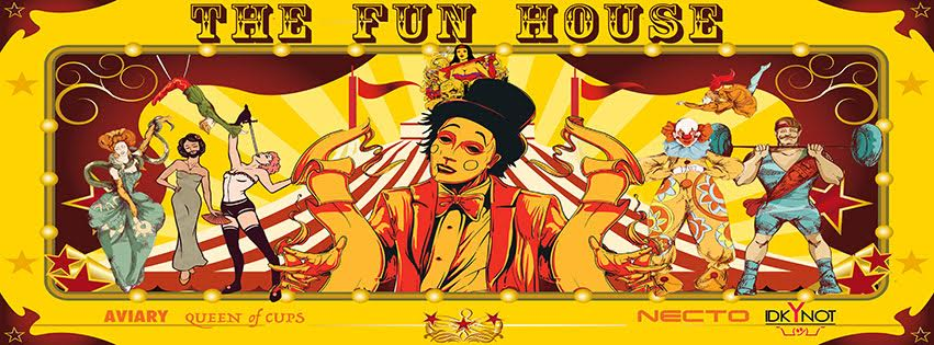 a event poster for idk y not events presents fun house halloween