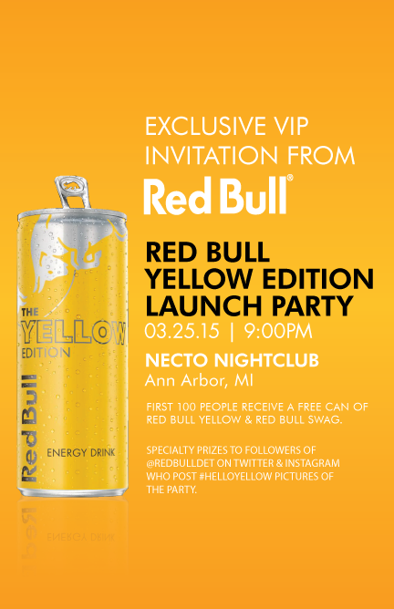 red bull yellow edition launch party march 25th 2015. Black Bedroom Furniture Sets. Home Design Ideas